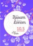 Invitation bridal shower card with sakura vector template Royalty Free Stock Photos