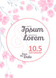 Invitation bridal shower card with sakura vector template Royalty Free Stock Images