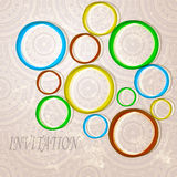 Invitation with  bright circles Royalty Free Stock Photo
