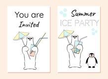 Invitation brochure with polar bear and penguin. Summer ice party. A bear holds a beach umbrella and an ice cocktail Stock Photo