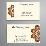 Invitation, business card or banner with text template. Round fl Royalty Free Stock Photo