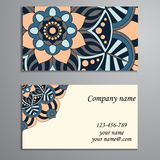 Invitation, business card or banner with text template. Round fl Royalty Free Stock Images