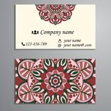Invitation, business card or banner with text template. Round fl Stock Photo