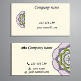 Invitation, business card or banner with text template. Round fl Stock Images