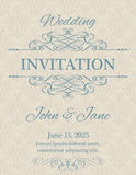 Invitation with calligraphy design elements Royalty Free Stock Photos