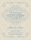Invitation with calligraphy design elements Royalty Free Stock Photo