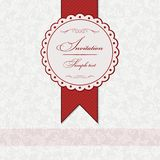 Invitation card. With red ribbon. The light pattern, red ribbon vector illustration