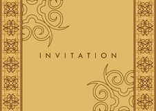 Invitation Card. With curve shape pattern in the sides Royalty Free Stock Image