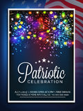 Invitation card for American Independence Day celebration. American Independence Day celebration invitation card decorated with colorful firecrackers and lights Stock Image