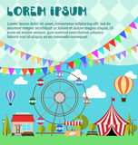 Invitation card for amusement park, winter market, festival or fair. Inventation card for amusement park, winter market, festival or fair. Ferris wheel, balloon Royalty Free Stock Photos