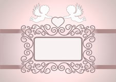 Invitation card with angels. Wedding invitation with decorative frames, angels and heart, with space for text. Also suitable for Valentines Day. On tender Stock Images