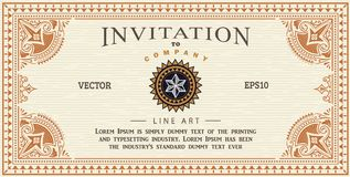 Invitation card antique frame label engraving border vector Stock Photography
