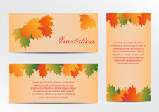 Invitation card with autumn colorful leaves Royalty Free Stock Photos