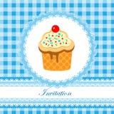 Invitation card for boy. Invitation card for baby shower, birthday, plaid and blue Stock Photo