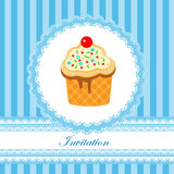 Invitation card for boy. Invitation card for baby shower, birthday, striped and blue stock illustration