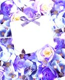 Invitation card on a background of blue roses Royalty Free Stock Image