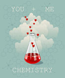 Invitation card on background. Vector illustration for Valentines day or wedding. Vector illustration of chemistry flask filled wi Royalty Free Stock Photo
