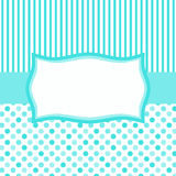 Invitation Card with Banner and Stripes. Invitation card with polka dots pattern, stripes and a banner frame vector illustration