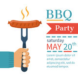 Invitation card on barbecue. Invitation card on the barbecue. BBQ party poster. Cooked hot fried sausage on a fork in the hand of man. Isolated on white vector illustration