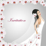 Invitation card with a beautiful bride. In wedding dress in a frame of white orchid flowers Royalty Free Stock Photo