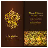 Invitation card with beautiful golden ornaments ,damask frame, border. A luxury vintage vector card. Gold royal template Royalty Free Stock Photography