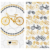 Invitation card with bike in the chain wreath and six kinds of bicycles Royalty Free Stock Images