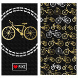 Invitation card with bike in the chain wreath, text love bike in rectangle frame. At the back six kinds of bicycles: mountain, roa Royalty Free Stock Photo