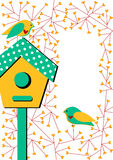 Invitation card with birdhouse and birds stock images