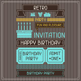 Invitation card for birthday in retro style Royalty Free Stock Image