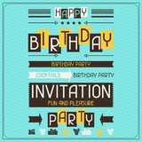 Invitation card for birthday in retro style Stock Photos