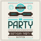 Invitation card for birthday in retro style.  Stock Photography
