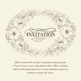 Invitation card with blooming hibiscus. Stock Photo