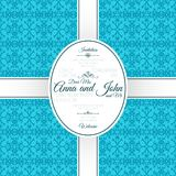 Invitation card with blue arabic pattern stock illustration