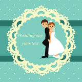 Invitation card with the bride and groom in vintage style. Royalty Free Stock Image
