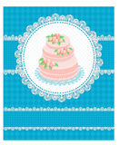Invitation card with a cake Royalty Free Stock Image