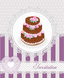 Invitation card with a cake and lace. Vector illustration. Stock Image