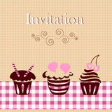 Invitation card with cakes Royalty Free Stock Photos