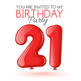 Invitation card for the celebration of 21 years Royalty Free Stock Images