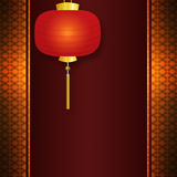 Invitation card with Chinese lantern. Abstract background with antique, vintage pattern, and Chinese New Year lantern Stock Image