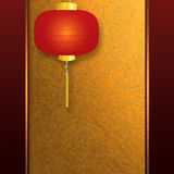 Invitation card with Chinese lantern. Abstract background with vintage pattern, golden metal plate and Chinese New Year lantern, invitation card Stock Photography