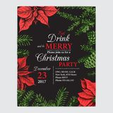 Invitation card for a Christmas party. Design template with xmas hand-drawn graphic illustrations. Greeting card with the New Year. Vector illustration sketch Royalty Free Stock Photos
