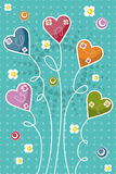 Invitation card with color hearts Stock Photo