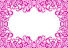 Invitation card curls border frame. Retro pink frame invitation with curls or waves around the border Stock Photo