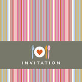 Invitation card with cutlery silhouette Stock Images
