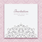 Invitation card with cutout paper lace decoration Stock Photos