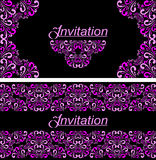 Invitation card with damask Ornament. Royalty Free Stock Photo