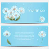 Invitation card with dandelions on blue background Royalty Free Stock Photo