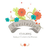 Invitation card with date and time. Royalty Free Stock Image