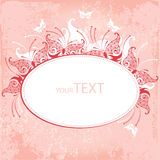 Invitation card with decorative butterfly on a pink background Royalty Free Stock Photography