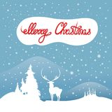 Invitation card with a deer and winter landscape with snow. Forest Hills. stock illustration